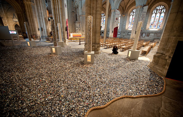 Photo copyright: Richard Hanson (0793 908 1208)Final adjustments being made to a new art installation '6 million +' at Ripon Cathedral, North Yorkshire.  The installation, a collaboration between artist Antonia Stowe and Kirklees Museums and Galleries, consists of over six million buttons, to commemorate the more than 6 million people killed in the Holocaust and later genocides. It opens today and runs for the next six weeks.Submitted on spec - image is copyright, and any use must be paid for.13.01.10