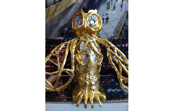 Trinity Leeds Antonia Stowe Sculptor Bronze Gilded Owl 2013 Yorkshire UK Artist
